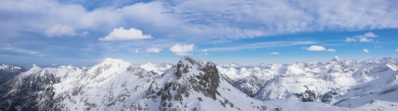 Alpenpanorama in winter Oberstdorf. Snow-covered mountains in the Alps oberstdorf Germany Stock Photography