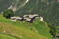 Alpenzu alpine village, Aosta Valley Stock Photo