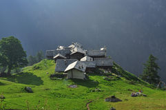 Alpine village Alpenzu, Gressoney, Aosta Valley Royalty Free Stock Photo