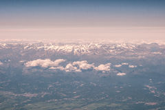The Alpes. Flight over the Alpes on their Italian Side Stock Images