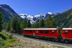 Alpes croisés exprès de Bernina de train suisse de montagne Photos libres de droits