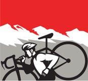 Alpes de Running Carrying Bike d'athlète de Cyclocross rétros Image libre de droits