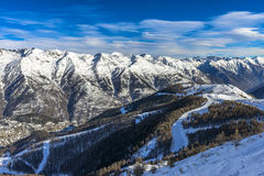 Alpes français à l'hiver Image stock