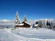 Alpes français en hiver Photographie stock libre de droits