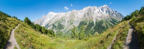 Alpes, France (par Courmayeur) - panorama Image stock