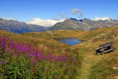 Alpes mountaines的湖 库存图片