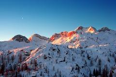 Alpes suisses dans le lever de soleil Photographie stock libre de droits