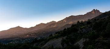 Alpes sunset. Landscape panorama: view to the Pic des Chabrières during sunset stock photo