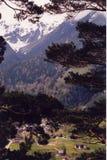 Alpes - villaggio alpino Fotografia Stock Libera da Diritti