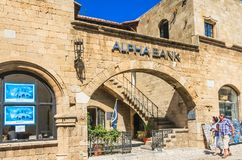 Alpha Bank. Old Town. Rhodes Island. Greece Stock Photo