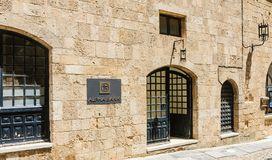 Alpha Bank. Street of  Knights, old town. Rhodes Island. Greece Stock Image