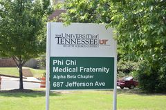 Phi Chi Medical Fraternity Sign at the UT Health Science Center Sign, Memphis, TN stock photography