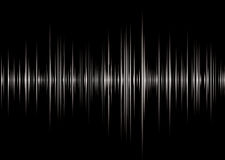 Alpha black. Black and silver graphic music read out with peaks and wave forms Royalty Free Stock Photo
