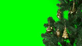Alpha Channel transparent background. Green fir-tree with golden decoration rotate. Tamplate for greeting card to. Celebrate Merry Christmas and Happy New Year stock footage