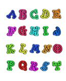 Alpha Color Me Hot A to T. Alphabet A to T is colored with fun colors with black tracing of each letter in center Royalty Free Stock Photos