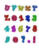 Alpha Color Me Hot U to Z. Alphabet U to Z, numbers and punctuation is colored with fun colors with black tracing of each letter in center Stock Image