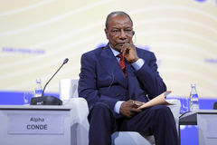 Alpha Conde. SAINT-PETERSBURG, RUSSIA - JUN 16, 2016: St. Petersburg International Economic Forum SPIEF-2016. President of Guinea Alpha Conde Stock Photo