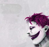 Alpha Emo. Androgynous weirdo clown head painting Royalty Free Stock Photography