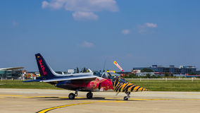 Alpha Jet of the Flying Bulls. After aerobatics at Bucharest International Air Show 2013. Pilot: Phillip Haidbauer, Co-Pilot: Hans Huemer stock photo