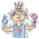 Alpha male concept. Bisexual idea vector simple illustration, ha. Nd drawn man with a crown on a head and female and male gender symbols Royalty Free Stock Images