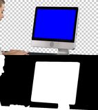 Woman using computer, Alpha Channel. Blue Screen Mock-up Display. stock photography