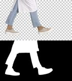 Woman doctor legs walking, Alpha Channel stock image