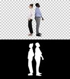 Beautiful and handsome guy standing back to back changing poses, Alpha Channel royalty free stock photo