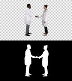 Successful team of surgeons giving high five and laughing isolated on white background, Alpha Channel stock photos