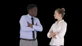 International business people standing with folded arms, Alpha Channel stock video