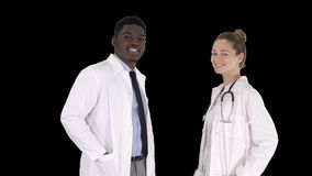 Two caucasian and Afro American smiling doctors standing looking in to camera, alpha channel. On Alpha Matte. Medium shot. Two caucasian and afro american stock video footage