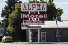 Alpha Motel in Walsenburg, Colorado. Walsenburg, CO/USA - September 8, 2016: The sign for Alpha Motel in Walsenburg, Colorado Royalty Free Stock Photos