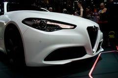 Alpha- Romeo Giulia in Genève 2016 royalty-vrije stock foto's
