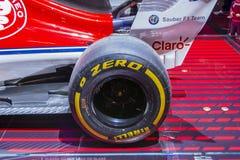 Alpha- Romeo Sauber Formula 1 auto stock afbeelding