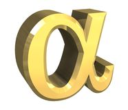 Alpha symbol in gold (3d) royalty free illustration