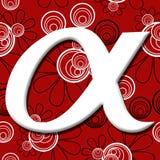 Alpha Symbol Over Red Black Floral Background Stock Image