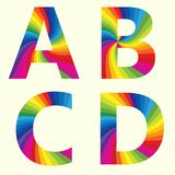 Alphabate A B C D. Stylish Rainbow Alphabet. Colorful your Education. Alphabet A B C D Royalty Free Stock Photos