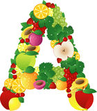 Alphabatical Früchte Stockfoto