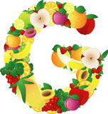 Alphabatical fruits Stock Photography