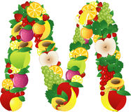 Alphabatical fruits Royalty Free Stock Images
