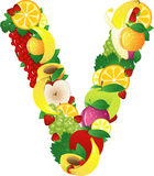 Alphabatical fruits Stock Images