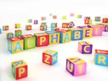 Alphabet écrit par des cubes en ABC Images libres de droits
