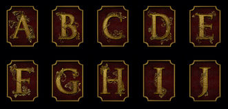 Alphabet élégant AJ sur le fond rouge Photographie stock