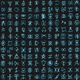 Alphabet étranger numérique de langage de programmation de matrice de code futuriste de cyberespace illustration stock