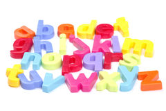 Alphabet. Colourful Fridge Magnet Set of Letters, Perspective, Focus On Front Row stock photography