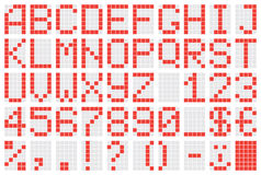 Alphabet. Dot-matrix display with alphabet and numbers Vector Illustration