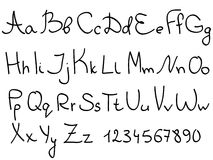 Alphabet. Handwriting alphabet letters and numerals  set Royalty Free Stock Photo