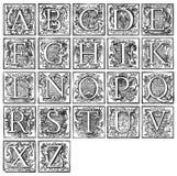 Alphabet from 16th century. Old decorative alphabet from 16th century Stock Photos
