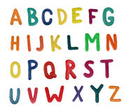 Alphabet. Colorful alphabet made from plasticine (isolated on white). Use it to make your own message Stock Images