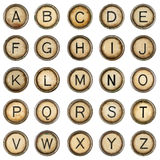 Alphabet. Grunge typewriter keys in white background stock images