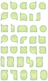 Alphabet. And numbers shaped as sliced cucumber isolated on white Royalty Free Stock Image